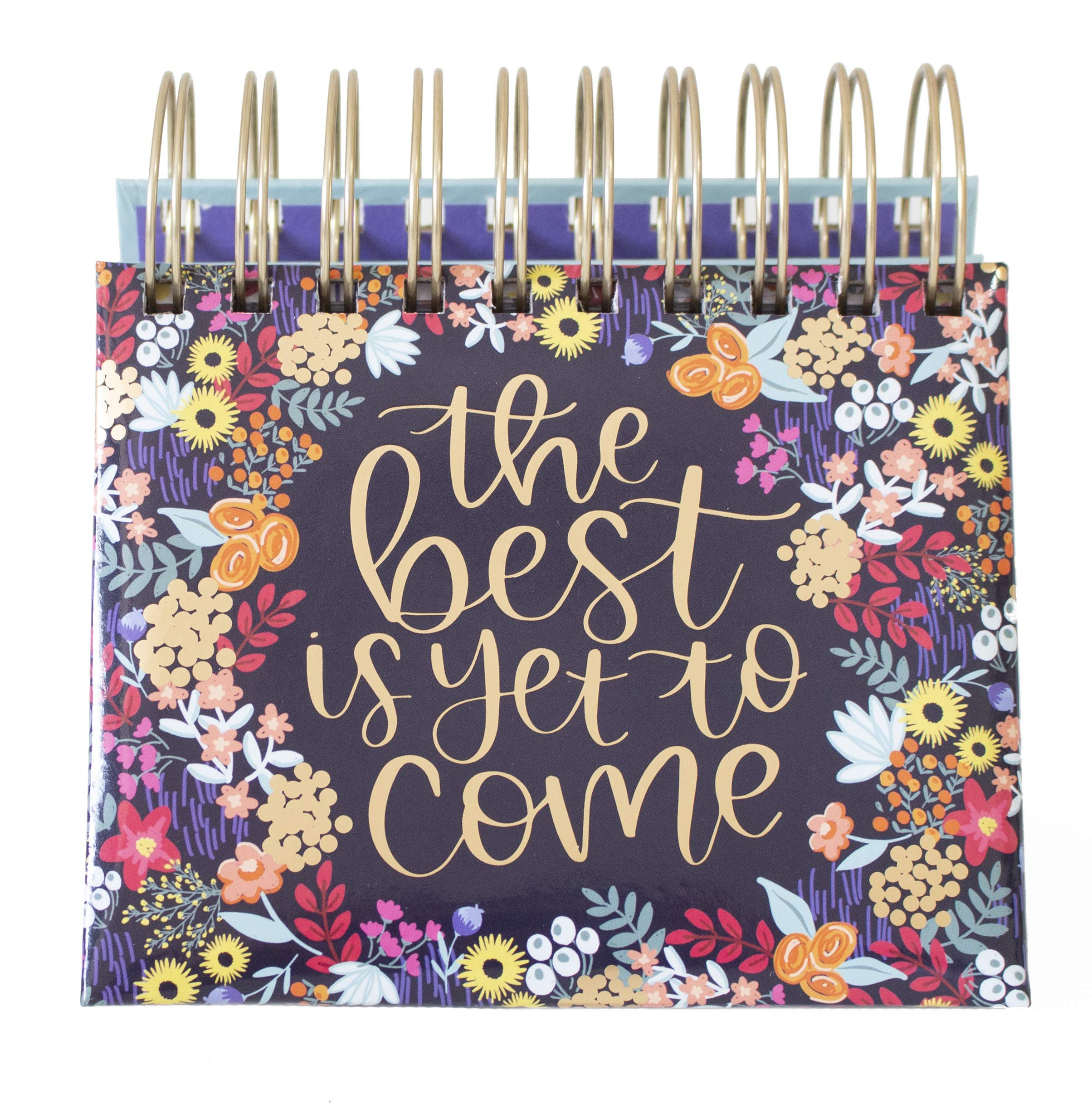 Bloom Daily Planners Undated Perpetual Desk Easel/Inspirational Standing Flip Calendar - (5.25'' x 5.5'') (The Best is Yet to Come)