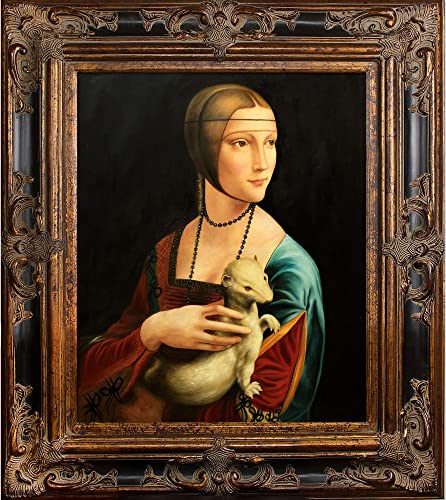 overstockArt Ldv1761-Fr-620Bp20X24 Da Vinci Lady with an Ermine with Excalibur Gold and Glossy Black Frame