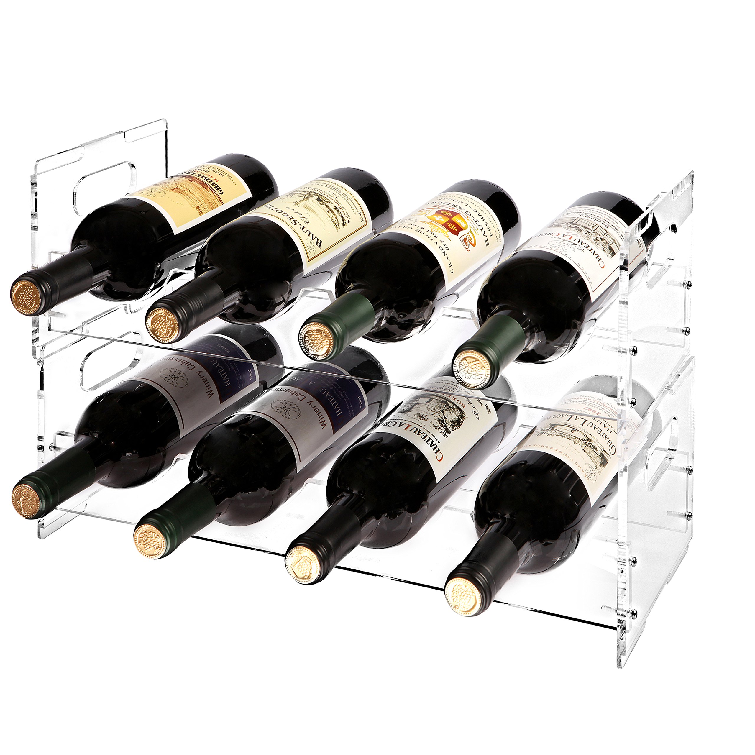 MyGift Modern Clear Acrylic Freestanding Stackable 8 Bottle Organizer Display Wine Rack (2 Piece Set) by MyGift
