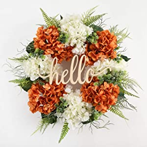 DOFW Fall Hydrangea Wreaths for Front Door,Outdoor Fall Wreaths for Front Door,Fall Spring Handmade Hello Wreath for Front Door,Farmhouse Wreath (18 inches)