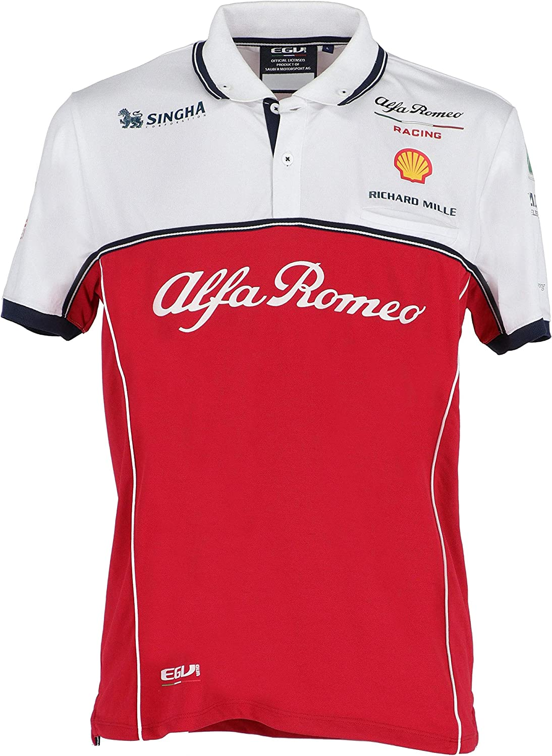 Alfa Romeo Racing F1 2019 Men's Team Polo Shirt (M) Red/White