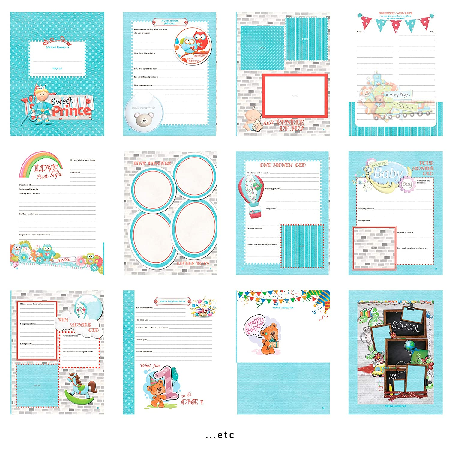 Baby Shower Gift Set Capture Photographs Newborn Baby Memory Book for Boy or Girl Family Tree Handprint Footprint Pink and Blue Soft Cover Keepsake First Year to 5