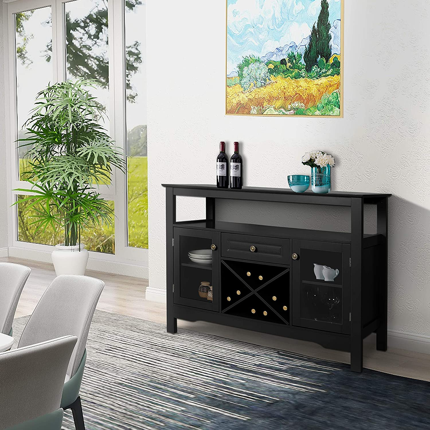 Adjustable Shelf /& Glass Display Cabinet Home Kitchen Dining Room/Buffet Cupboard Table with Storage Drawer Black Sideboard Wine/Cabinet Black