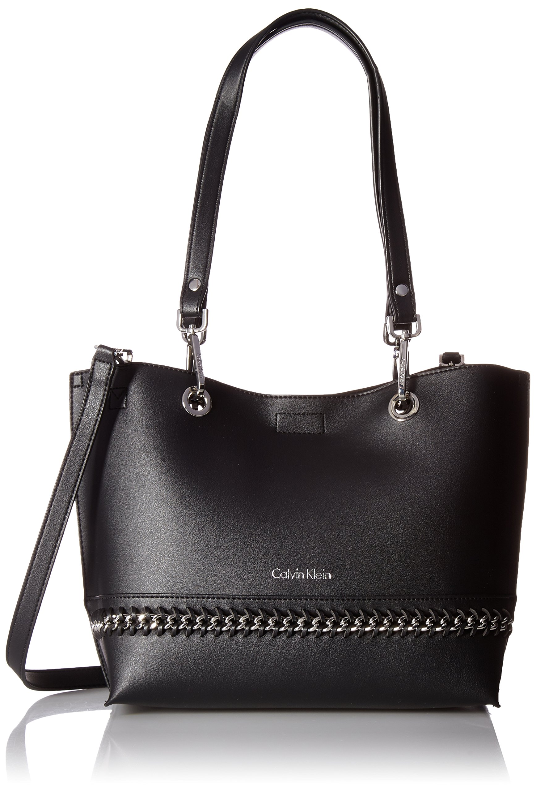 Calvin Klein With Optional Silver Chain Black Clutch