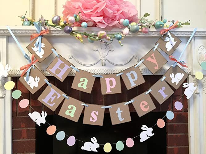 Country Easter Decorations BC Happy EASTER Mantle Or Wall Banner