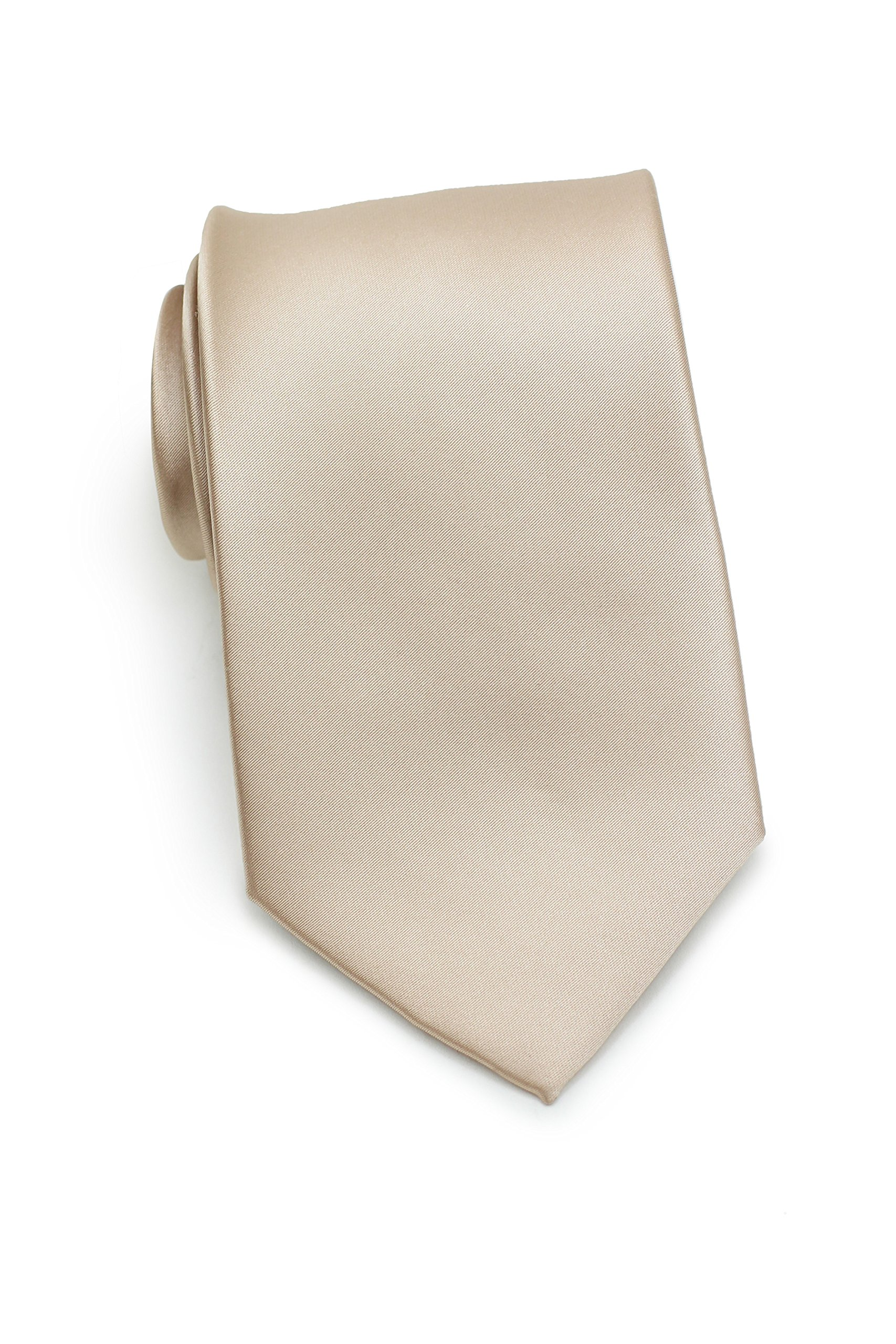 Bows-N-Ties Men's Necktie Solid Color Microfiber Satin Tie 3.25 Inches (Champagne) by PUCCINI
