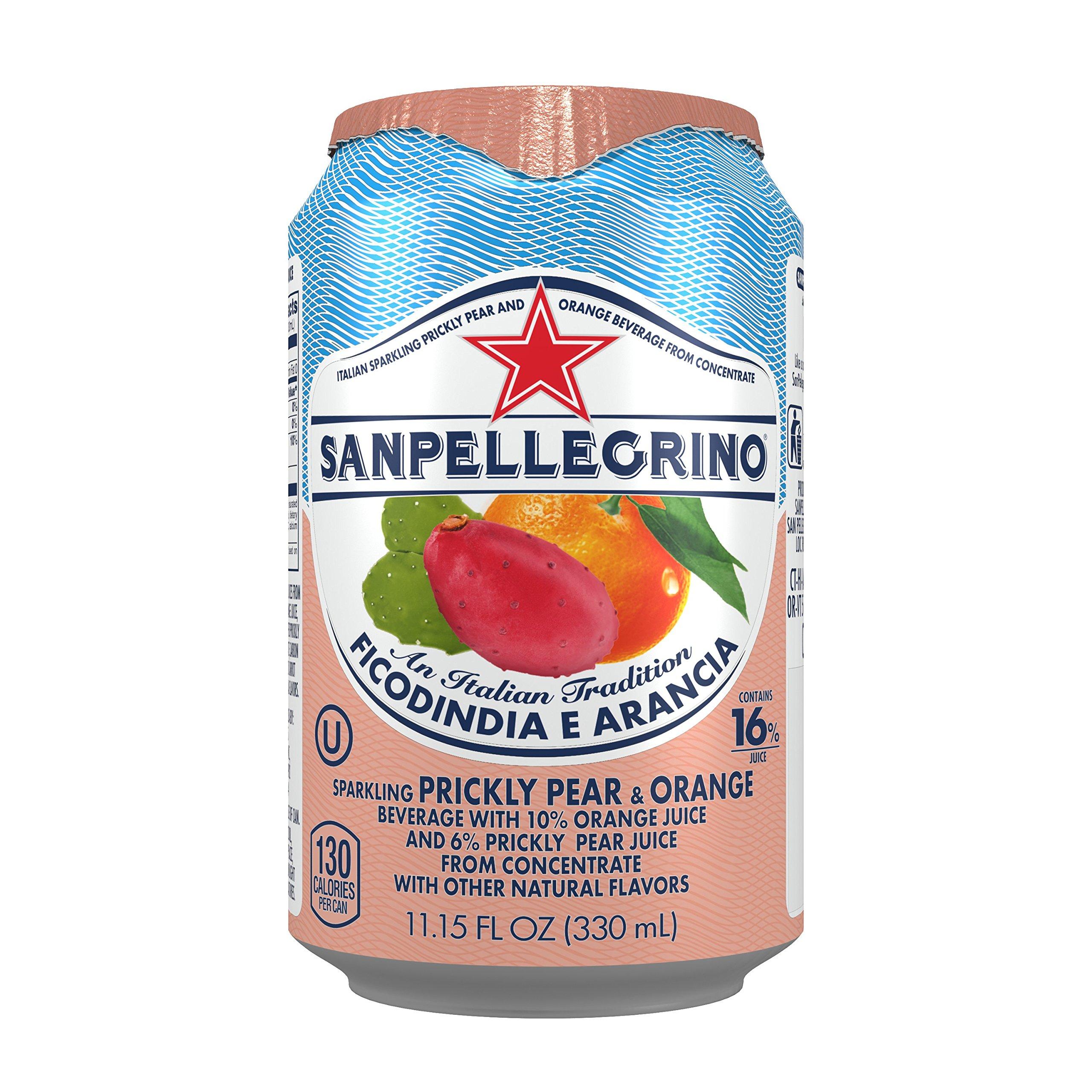 Sanpellegrino Prickly Pear and Orange Sparkling Fruit Beverage, 11.15 fl oz. Cans (24 Count)