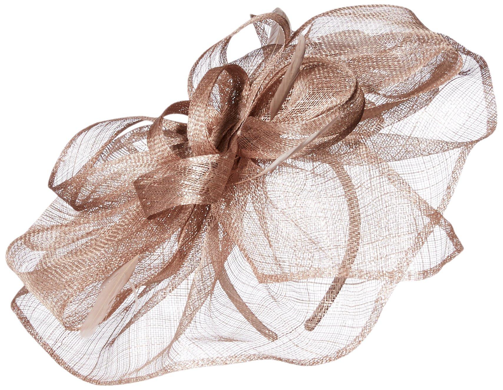 Scala Women's Large Metallic Fascinator Hat, Mocha, One Size