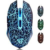 TENMOS M2 Inalámbrico Ratón, Recargable con Silencioso Ratón óptico Gaming Wireless Mouse con Receptor Nano 6 Botones…