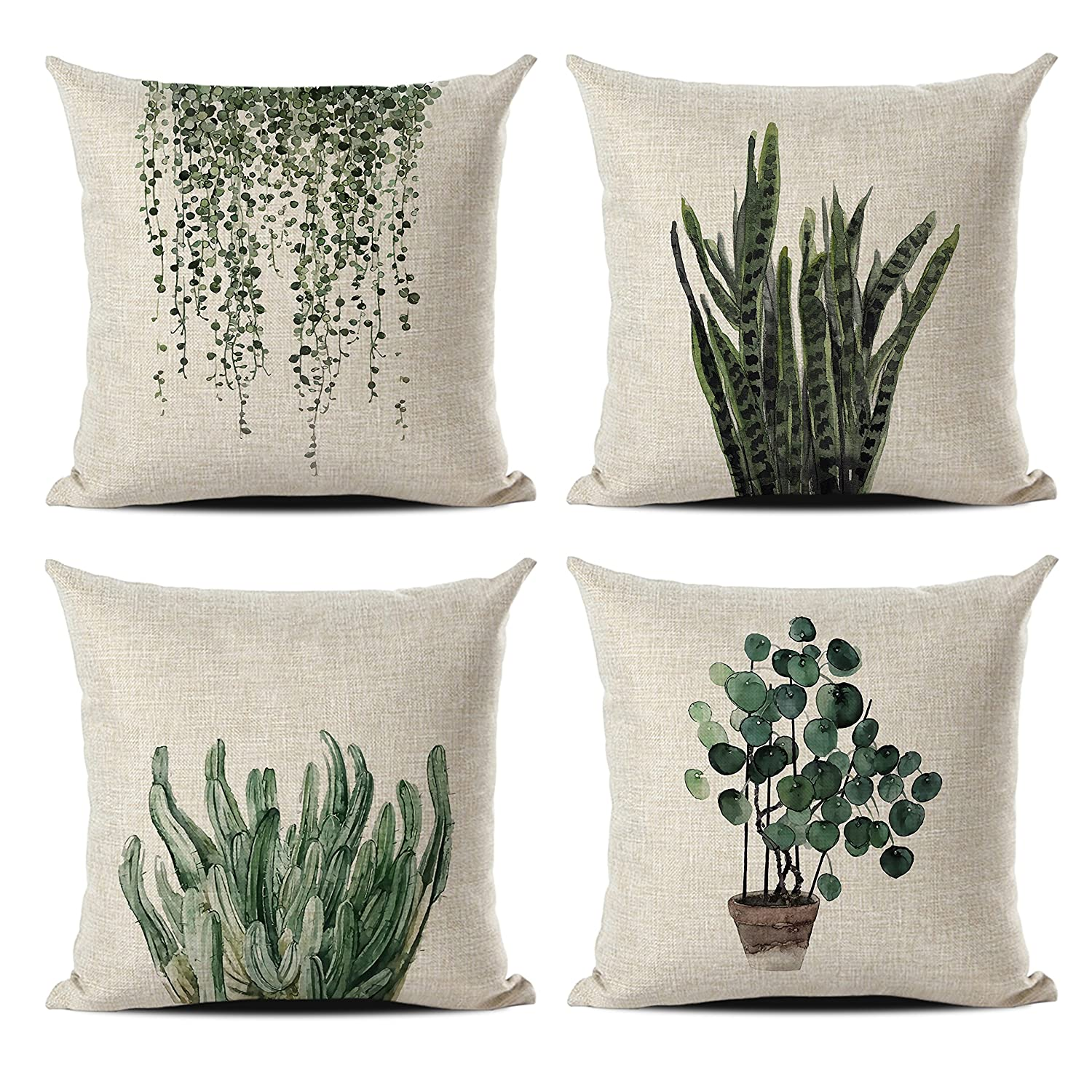 Set Of 4 Green Plant Throw Pillow Covers Decorative Cotton Line Outdoor Cushion Cover Sofa Home Pillow Covers 18x18