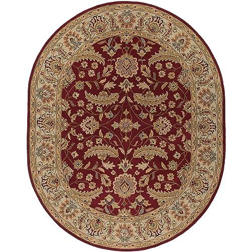Surya Caesar Classic Hand Tufted 100 Wool Maroon 8 x 10 Oval Traditional Area Rug