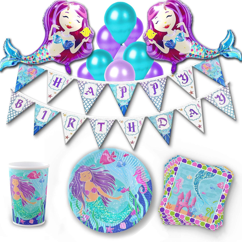 Khaotic Mermaid Birthday Party Supplies Decorations Set