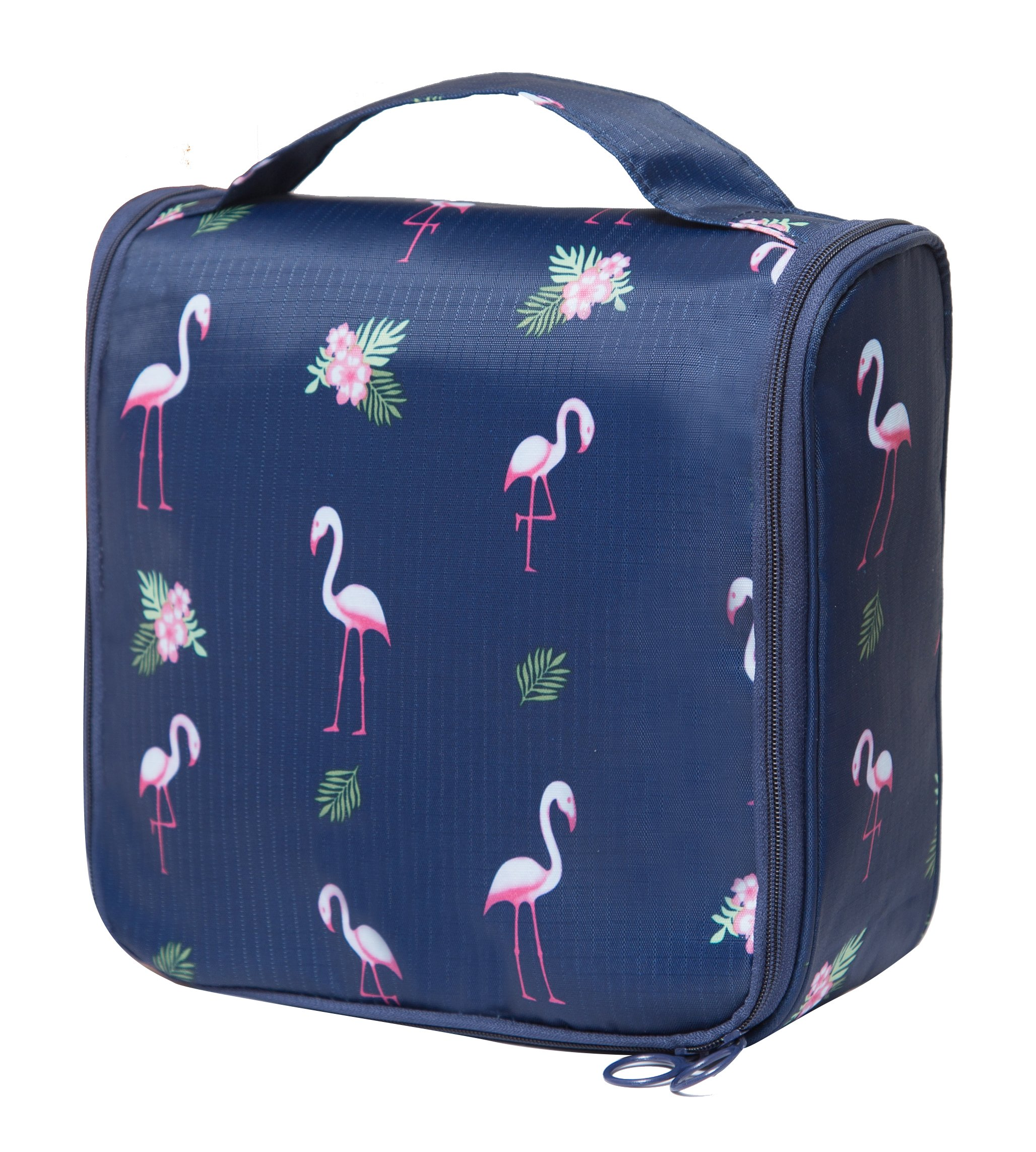 Portable Hanging Travel Toiletry Bag Waterproof Makeup Organizer Cosmetic Bag Pouch For Women Girl (Flamingo)