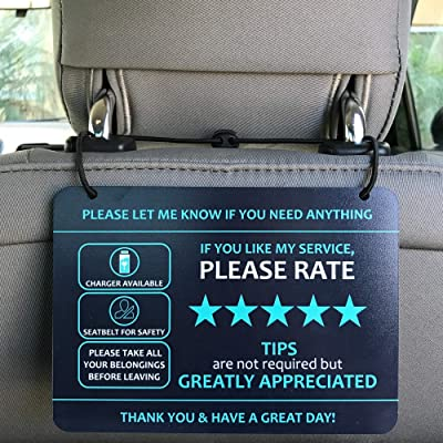 """Nebudo Compatible with Lyft Uber (2-Pack) Tips Rating Appreciated Rideshare Accessories – 7"""" x 5"""" – Interior Acrylic Headrest Sign - Rate Me Tip No Smoking for 5 Star Rides for Ride-share Drivers: Automotive"""