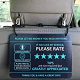 "Nebudo Compatible with Lyft Uber (2-Pack) Tips Rating Appreciated Rideshare Accessories – 7"" x 5"" – Interior Acrylic Headrest"