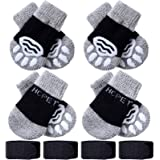 Frienda 8 Pieces Pet Knit Socks Anti-Slip Dog Cat Socks Adjustable Paw Protector for Small Puppies and Kittens Traction Contr