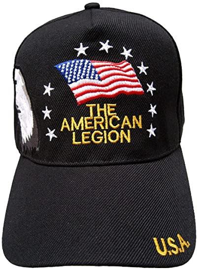 American Legion Baseball Cap Black Patriotic Hat with Eagle and Flag ... d55cf0c9142