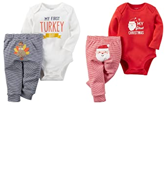 251dcb098a1f Amazon.com  Carter s Baby 2 Pack My First Christmas and Thanksgiving ...