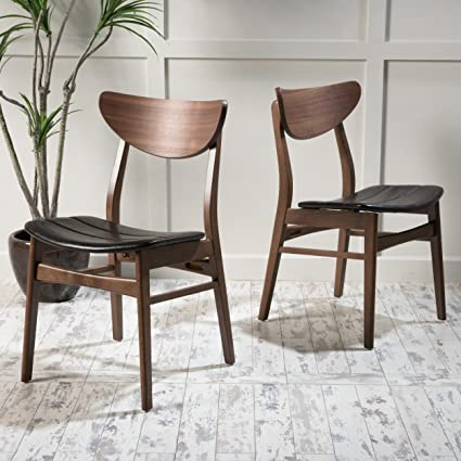 cccd86a5f4236 Amazon.com - Adelade Dark Brown Leather Walnut Finish Mid Century Modern Dining  Chair (Set of 2) - Table   Chair Sets