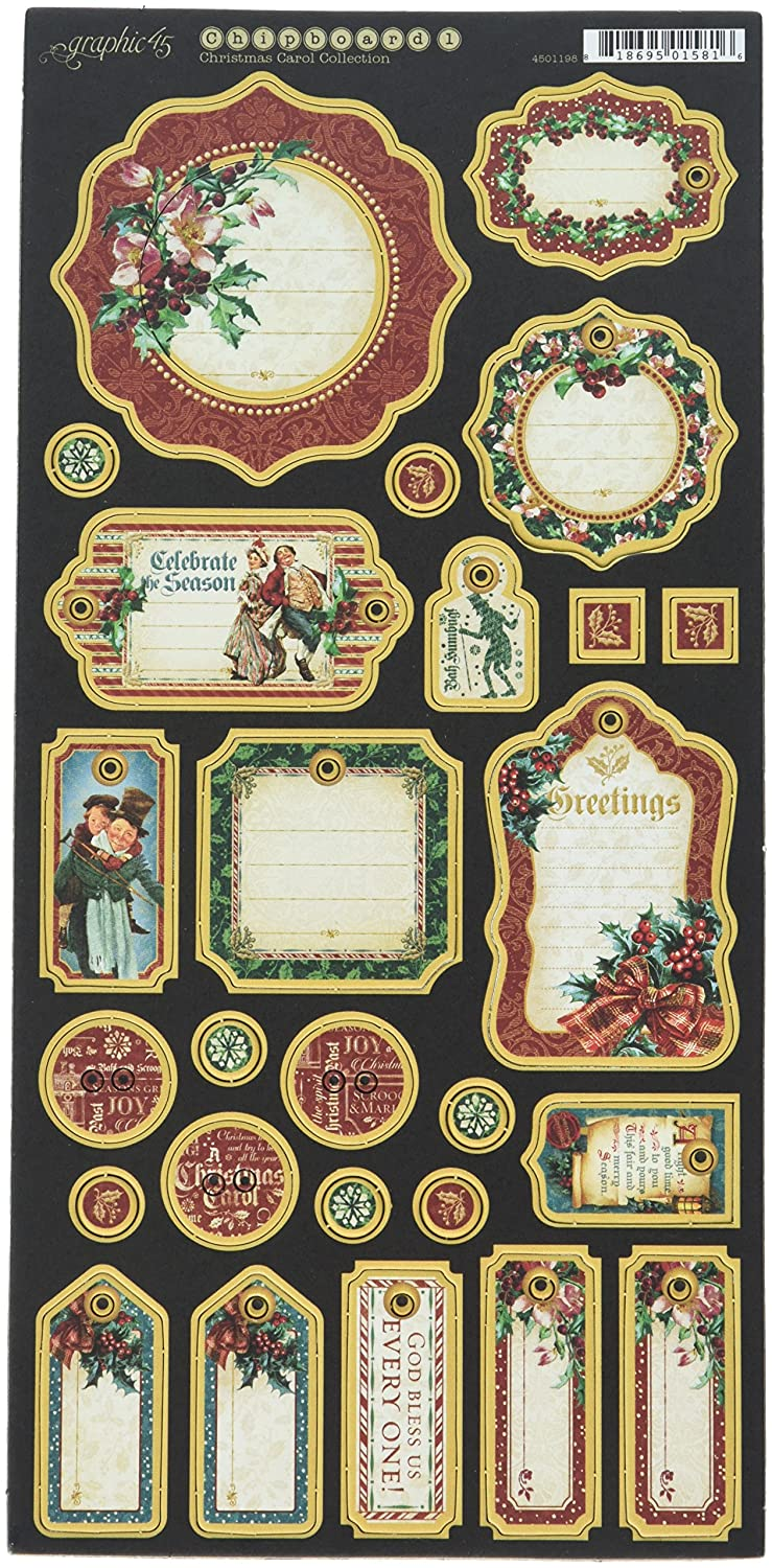 Graphic 45 Christmas Carol Journaling Chipboard, 4501198