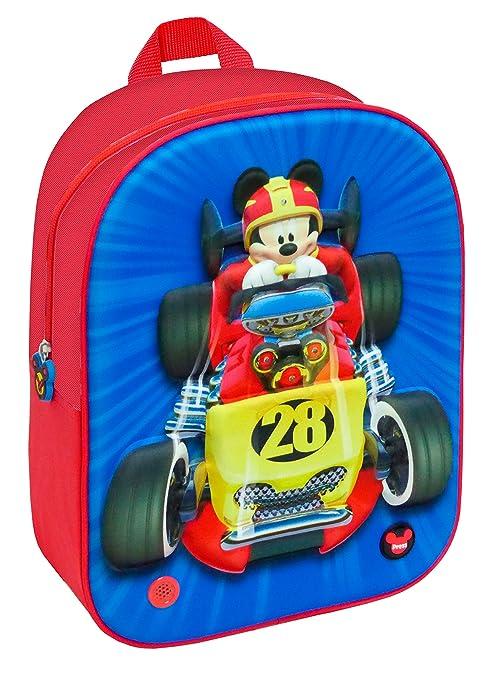 Disney Mochila Mickey and The Roadster Racers 3D con Luz Y Sonido Color Rojo/Azul