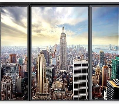 3d Wall Tattoo Double Window-Manhattan Bridge At Night 2 Optical Illusion