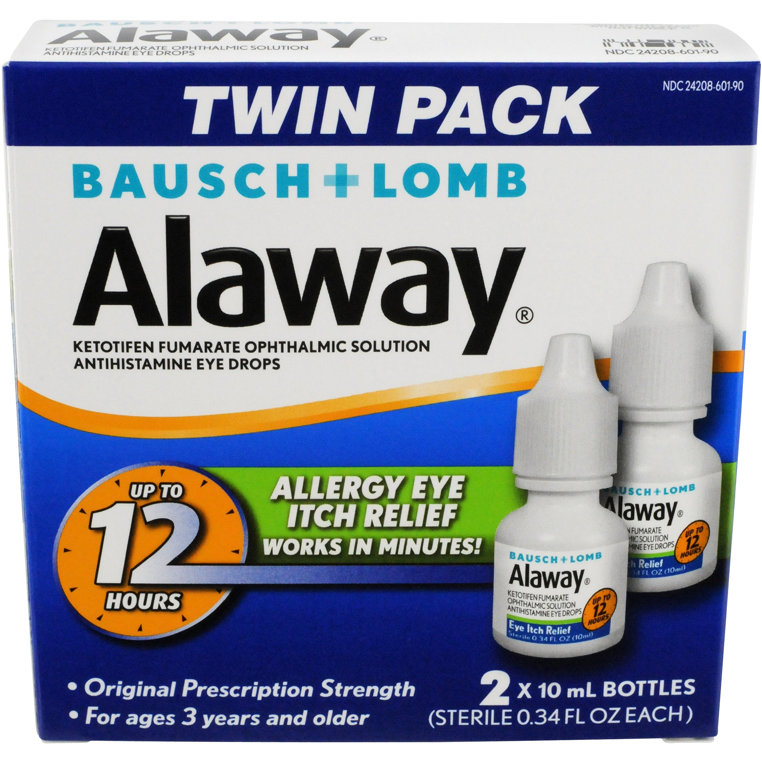 Allergy Eye Itch Relief Eye Drops by Alaway, Antihistamine, 10 mL (Pack of 2)