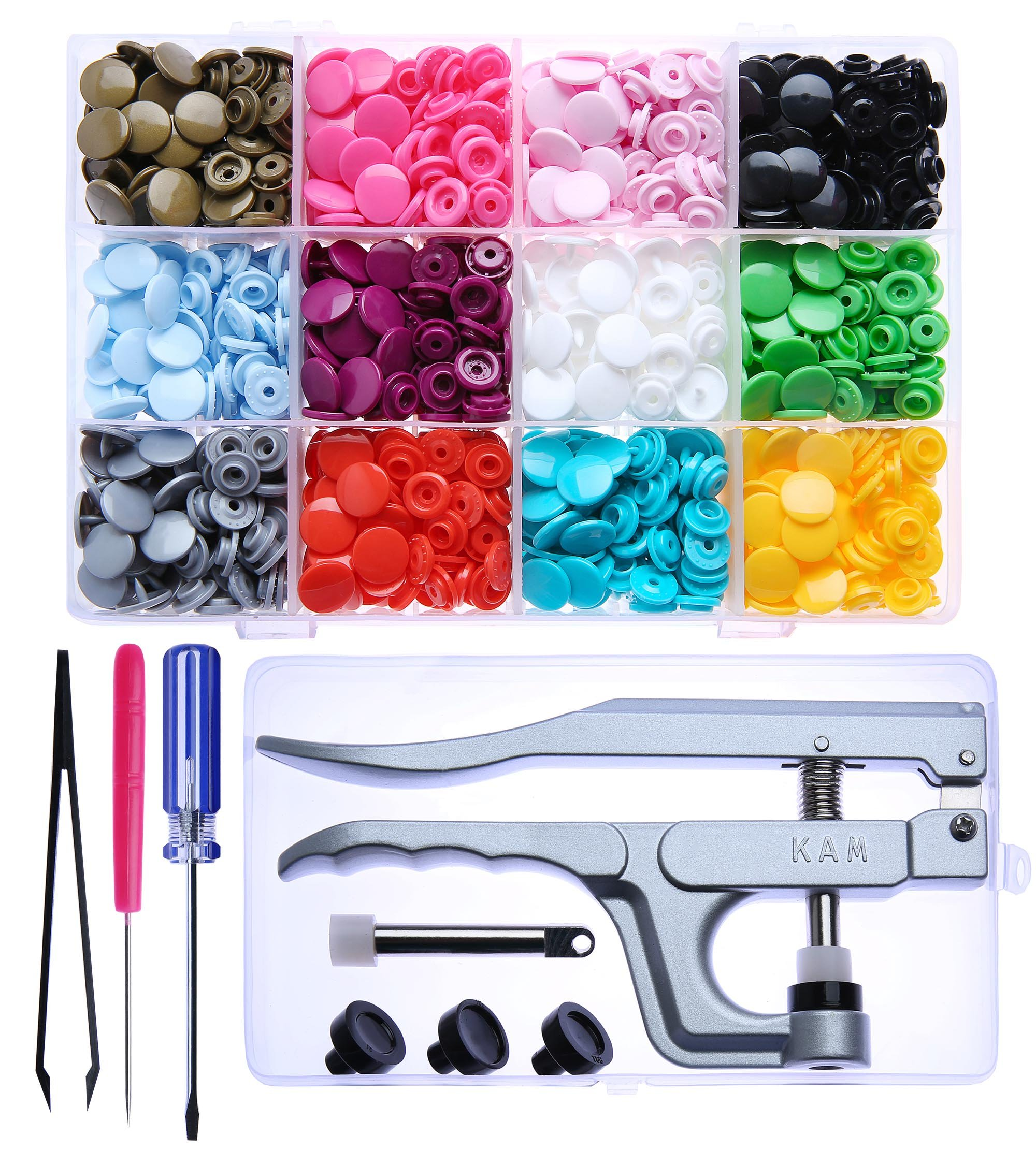 KAM Snaps Starter Fasteners Kit -360pcs Snap Size 20 + Pliers for Crafts Clothing by Seawhisper