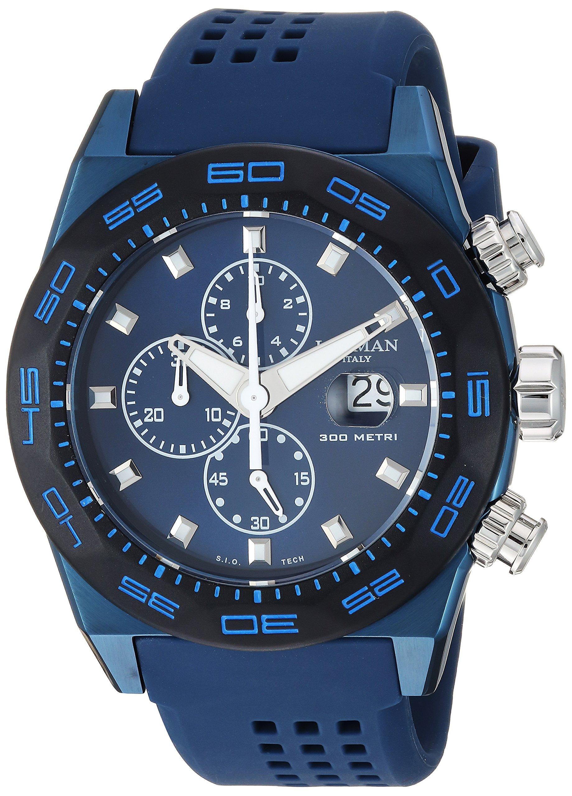Locman Italy Men's 'Stealth 300 Metri' Quartz Stainless Steel and Rubber Diving Watch, Color:Blue (Model: 0217V4-BKBLNKS2B)