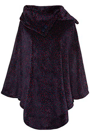 e652d8825b087a Ulla Popken Damen große Größen bis 3+, Homewear-Poncho, gepunktetes Fleece,