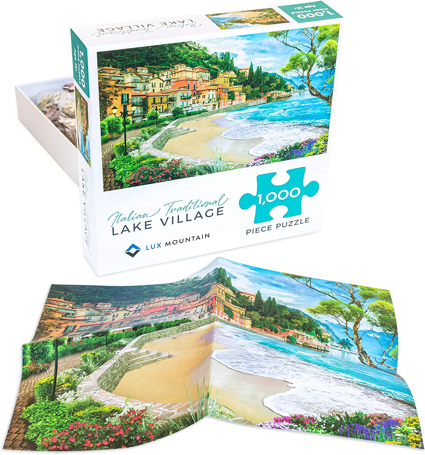 Premium Jigsaw Puzzle 1000 Pieces for Adults Italian Traditional Lake Village