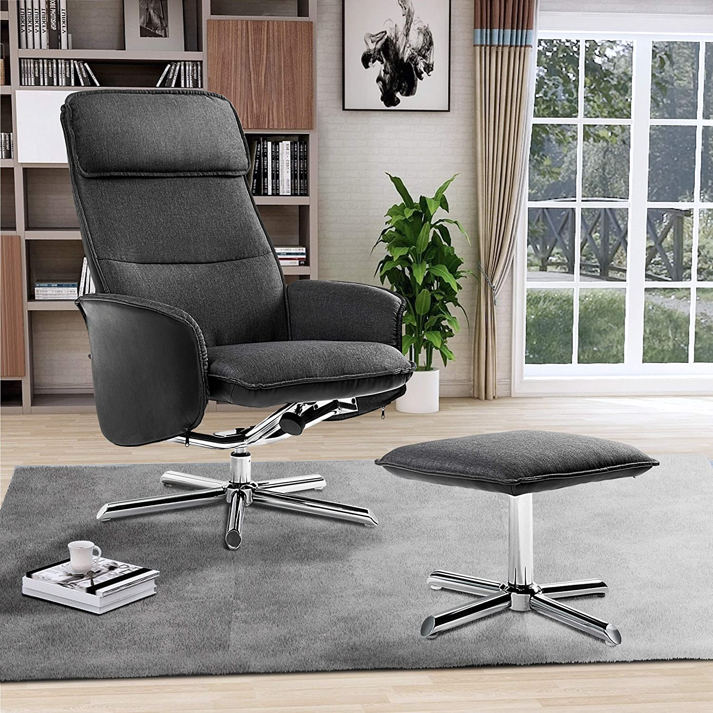 LENTIA Relaxsessel mit Hocker Sessel Liegesessel aus Leinengewebe Relaxstuhl 135/°verstellbare R/ückenlehne Loungesessel Bequemer Fernsehsessel Entspannungsstuhl F/ür Hause und B/üro Schwarz