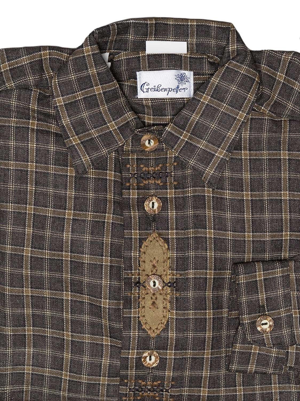 Almsach Kinder Trachtenhemd G 104-4309 anthrazit braun kariert