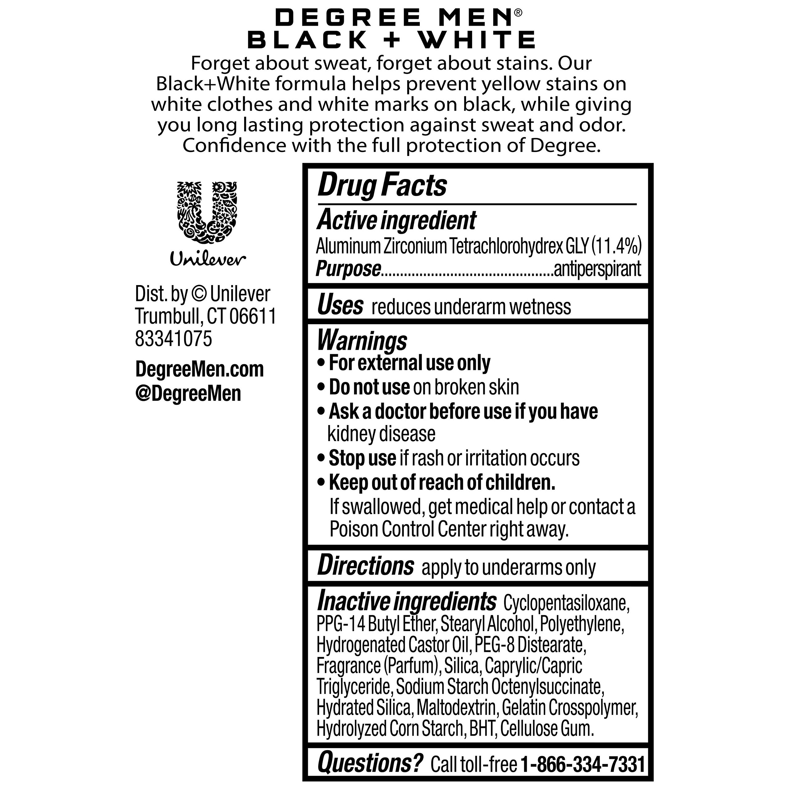 Degree Men UltraClear Antiperspirant Deodorant, Black+White, 2.7 oz, 4 count by DEGREE MENS DEO (Image #2)