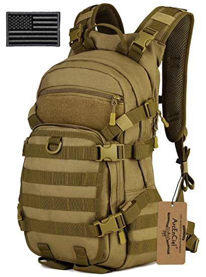 Arcenciel 25l Tactical Motorcycle Cycling Backpack Military Molle Pack Helmet Holder With Patch Rain Cover