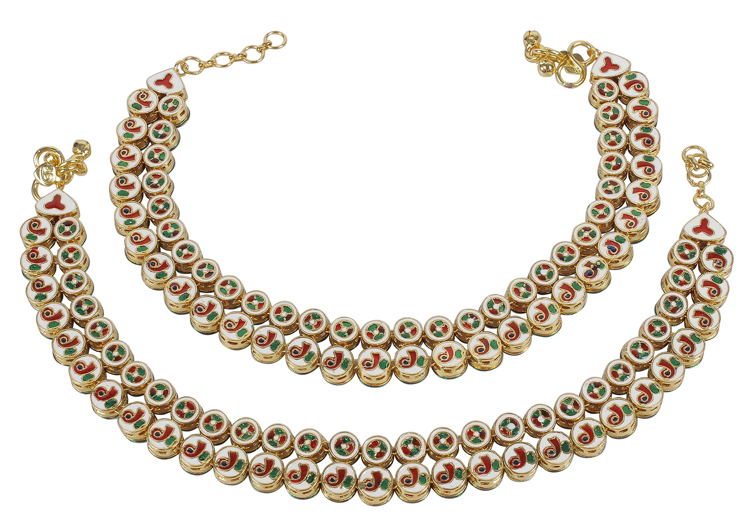 Muchmore Asian Ethnic Traditional Fashion Gold Tone Kundan Stone Anklet Partywear Jewelry by MUCHMORE (Image #3)