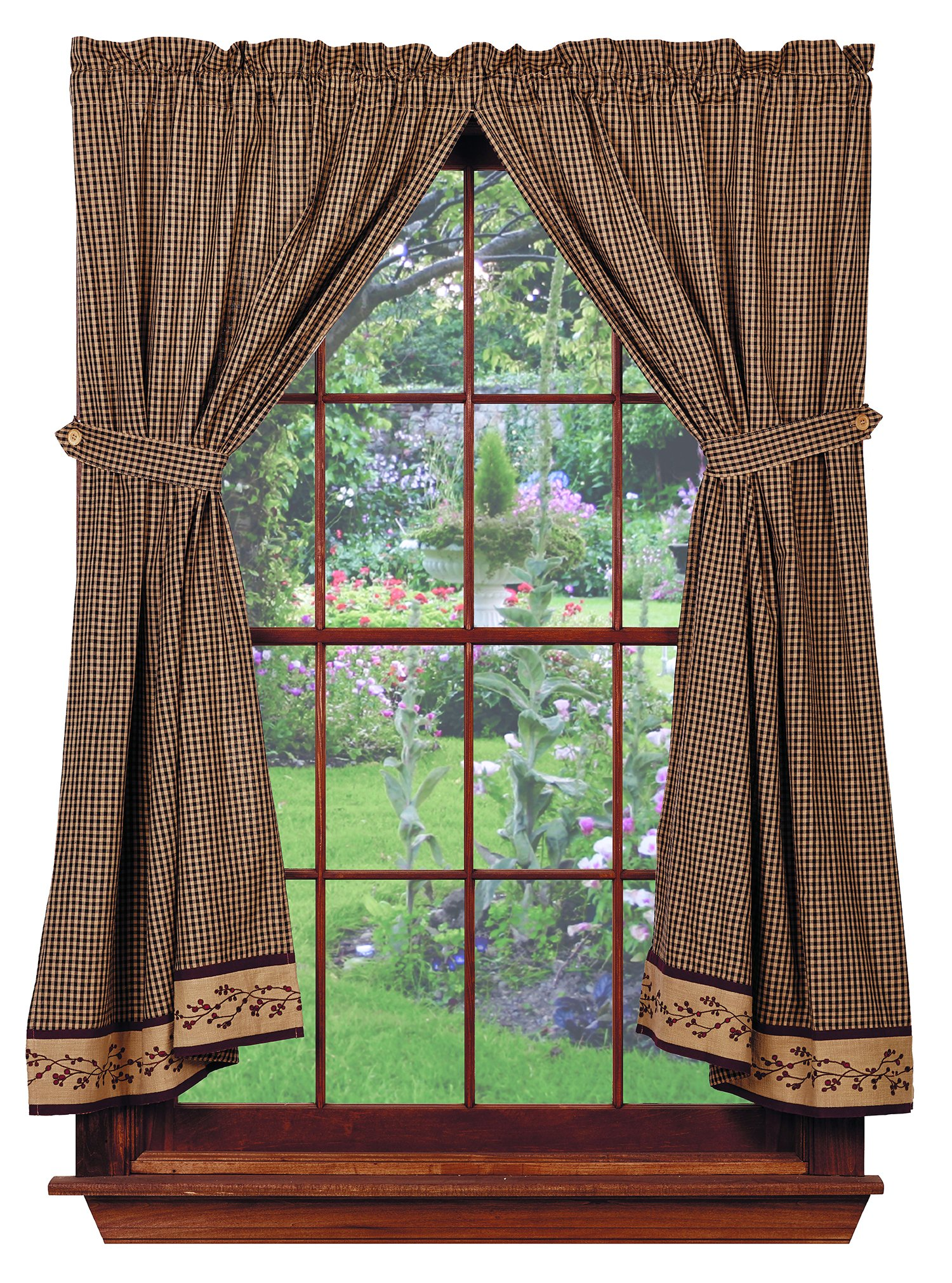 Berry Vine Panels, 72''x63'', Black Check, Country Primitive Drape Curtains