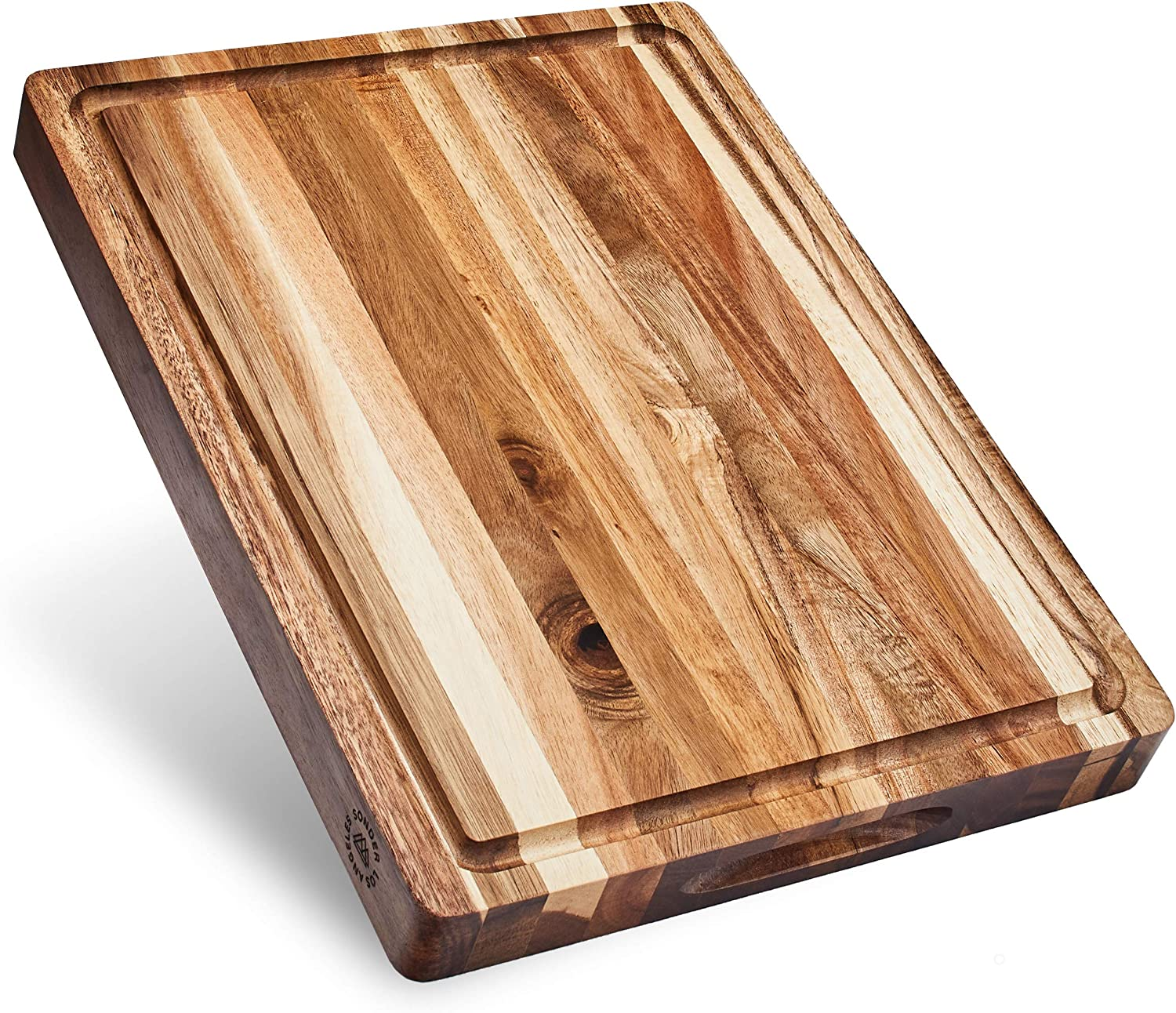 Amazon Com Sonder Los Angeles Large Multipurpose Sustainable Acacia Wood Cutting Board 16x12x1 5in Juice Groove Reversible With Cracker Holder Gift Box Included Kitchen Dining