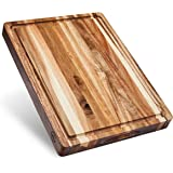 Large Reversible Multipurpose Thick Acacia Wood Cutting Board: 16x12x1.5 Juice Groove with Cracker/Bread Holder (Gift…