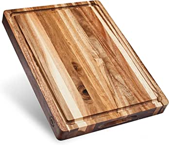 Large Reversible Multipurpose Thick Acacia Wood Cutting Board: 16x12x1.5 Juice Groove with Cracker/Bread Holder (Gift Box Included) by Sonder Los Angeles