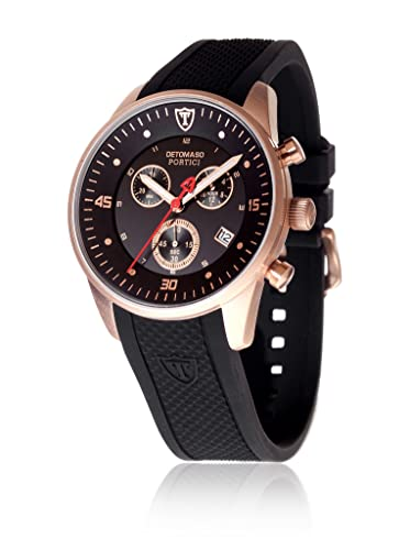 DeTomaso Portici - Reloj analógico de Cuarzo para Hombre, Correa de Silicona Color Negro, Esfera Negro y Oro Rosa: Amazon.es: Relojes