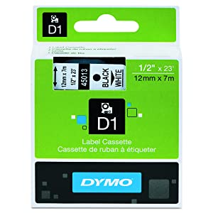 DYMO Standard D1 45013 Labeling Tape ( Black Print on White Tape , 1/2'' W x 23' L , 1 Cartridge), DYMO Authentic