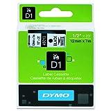 DYMO Standard D1 45013 Labeling Tape ( Black Print on White Tape , 1/2'' W x 23' L , 1 Cartridge)