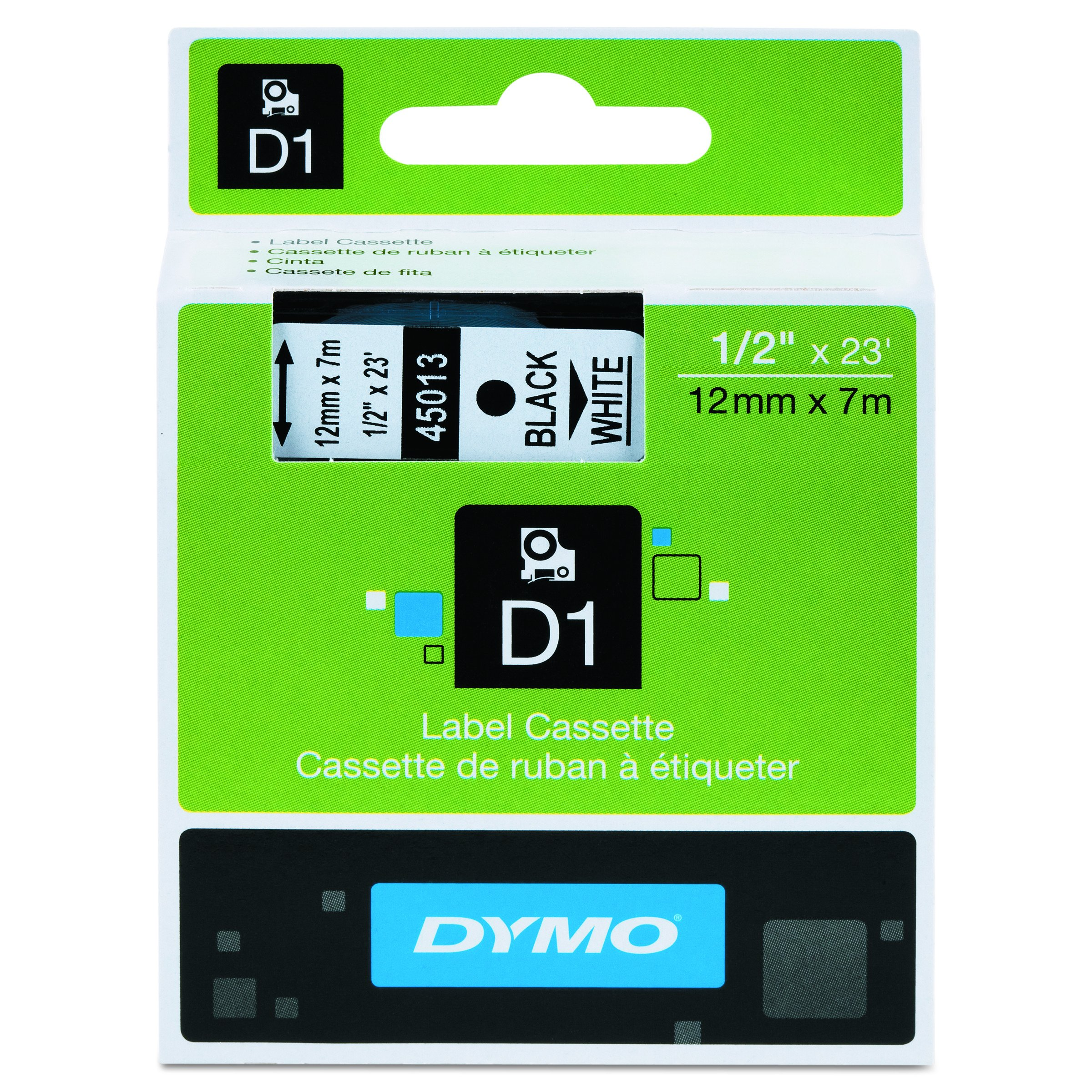 DYMO Standard D1 45013 Labeling Tape ( Black Print on White Tape , 1/2'' W x 23' L , 1 Cartridge), DYMO Authentic
