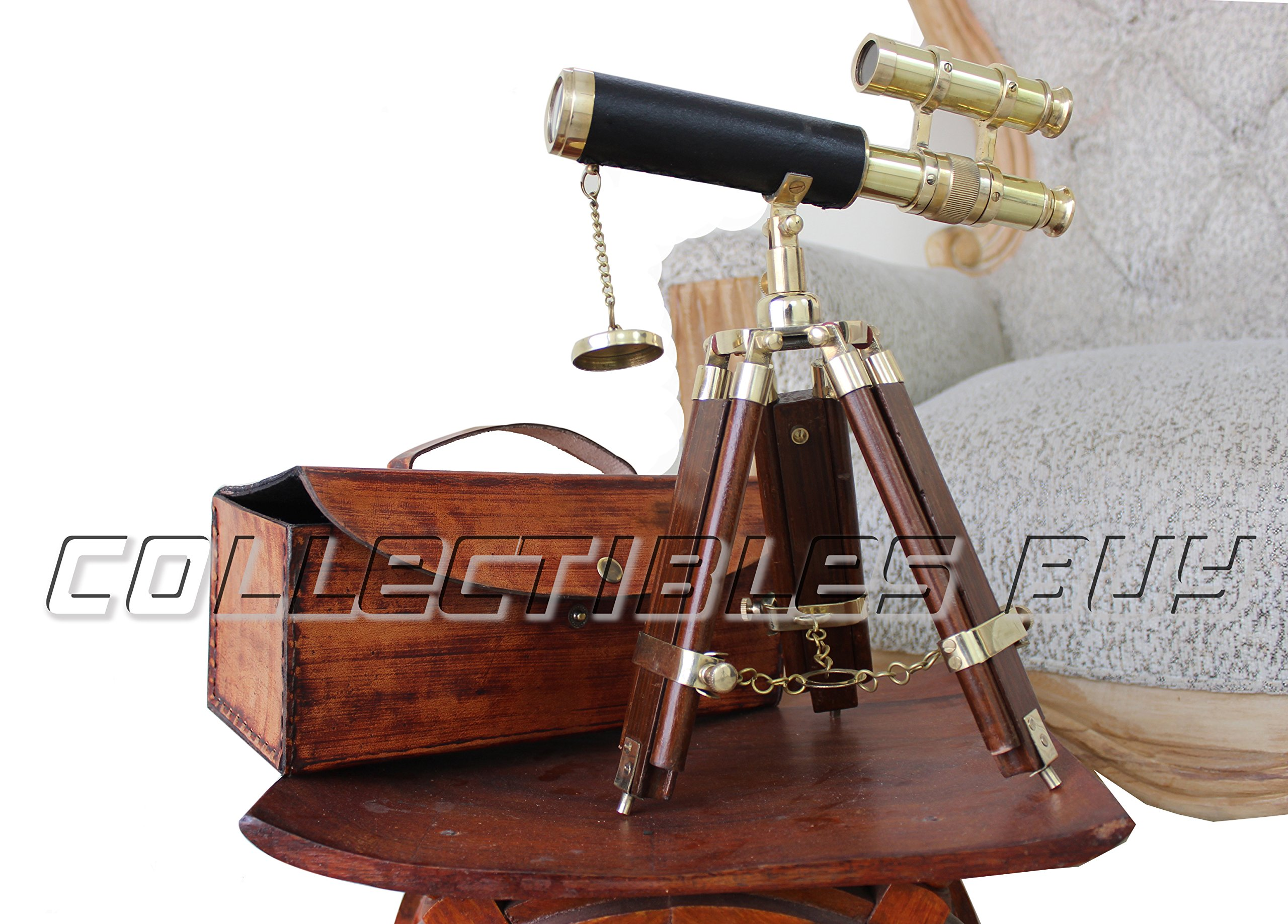 Vintage Double Barrel Telescope Brass Finish with Leather Case Maritime Solid Wooden Tripod