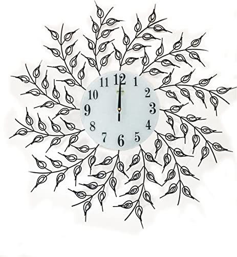 Fancy Wall Clock Decorative Leaf Black Metal Wall Clock White Glass Dial 27 inch Best for Living Room Kitchen Wall Accent