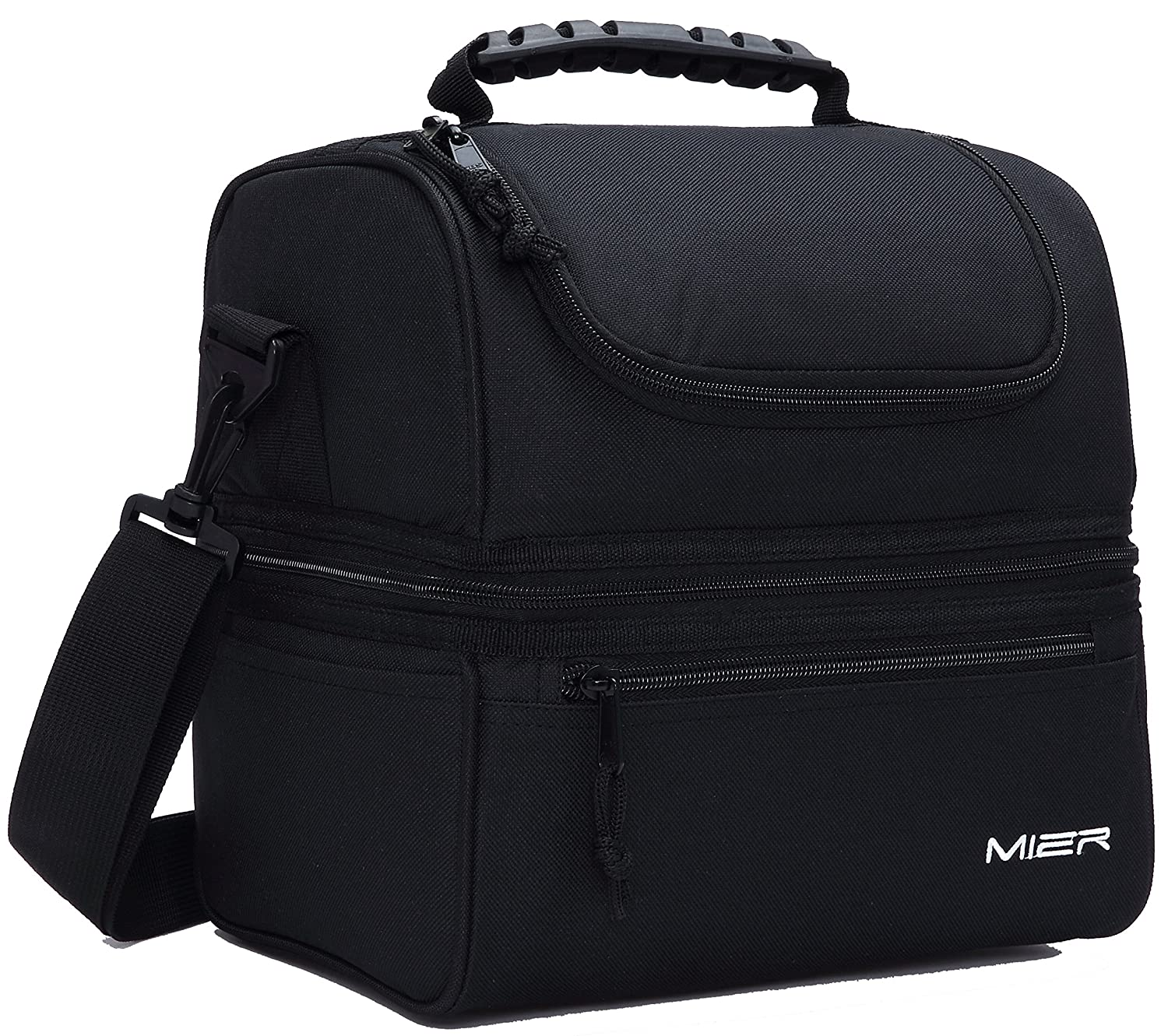 f29b3e177b52 MIER Adult Lunch Box Insulated Lunch Bag Large Cooler Tote Bag for Men,  Women, Double Deck Cooler(Black)
