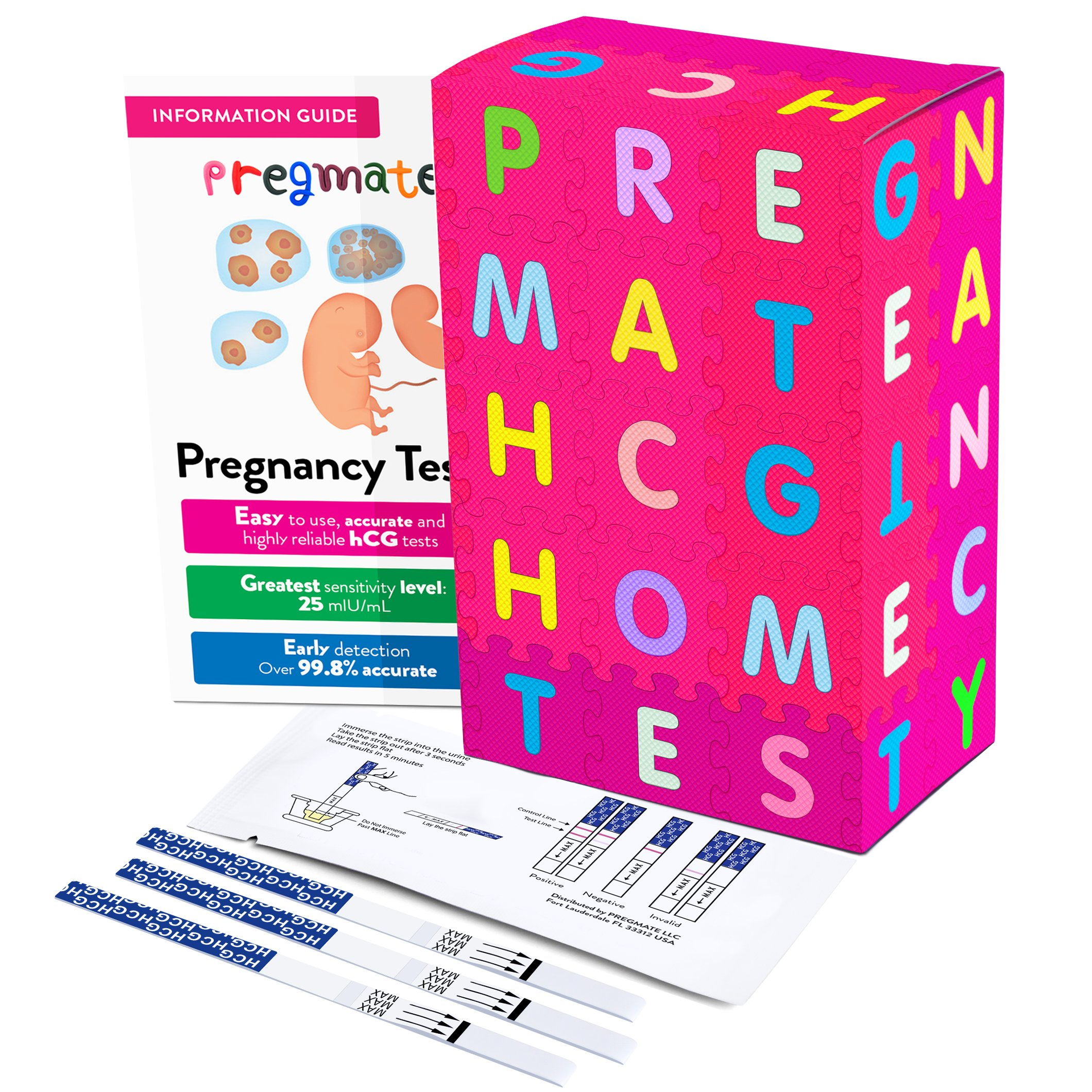 PREGMATE 30 Pregnancy (HCG) Urine Test Strips, 30 HCG Tests