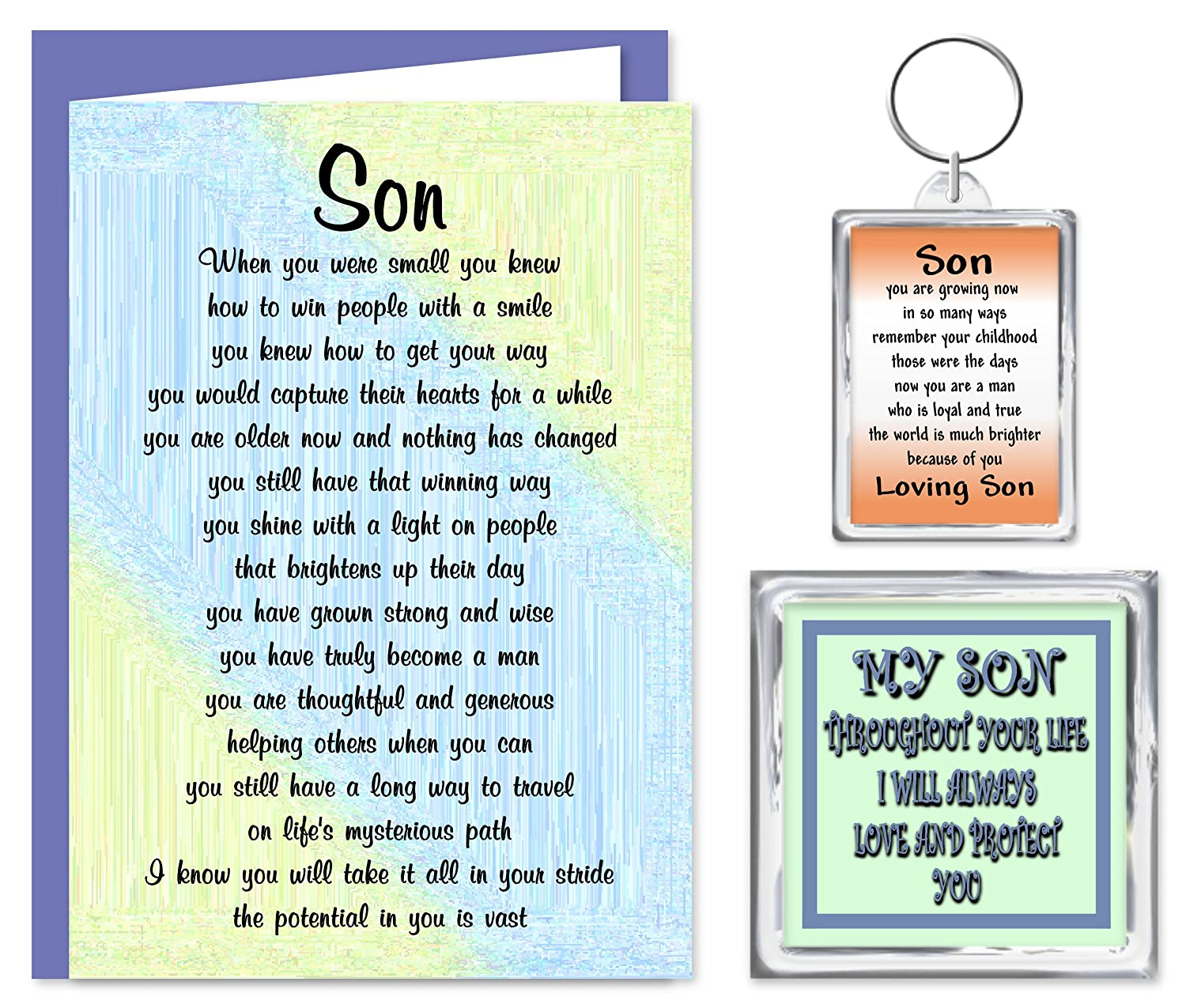 Son Gift Set Card Keyring Fridge Magnet For Someone Special – Birthday Card Verses for Son