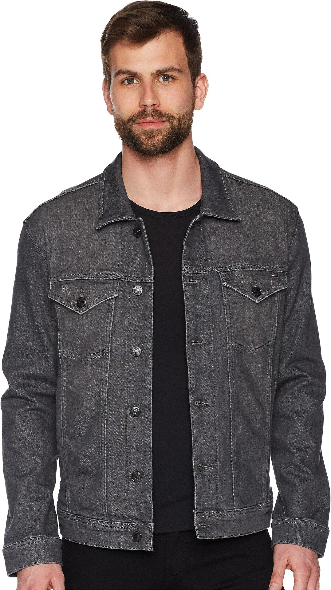 Tommy Jeans Men's Classic Trucker Jean Jacket Illinois Grey Stretch Large by Tommy Hilfiger